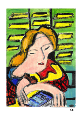 French girl's reading Victor Hugo