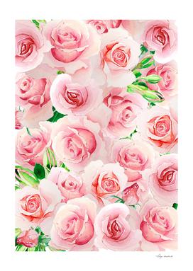 frame rose watercolor