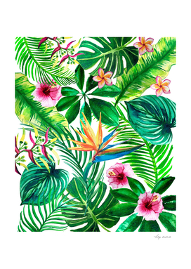 Tropical leaves and flowers watercolor illustration