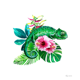 tropical leaves with flowers and chameleon watercolor