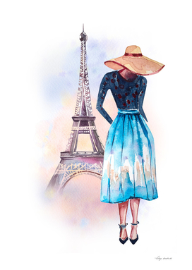 girl Paris watercolor