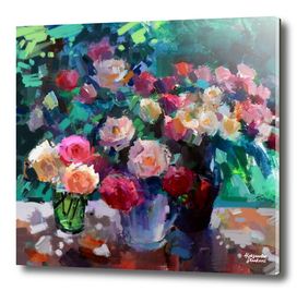 Flowers on The Garden Table