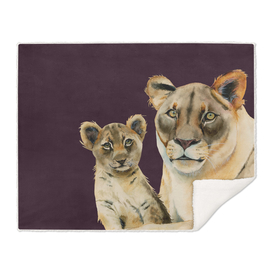 Motherhood   Mother Lion and Cub Watercolor Painting