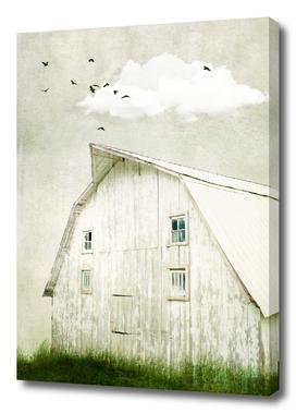 Weathered White Barn