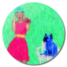 Pink girl with her calm blue dog