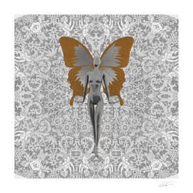 Silver Fairy On Silver Leaf