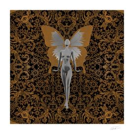 Silver Fairy On Gold Leaf