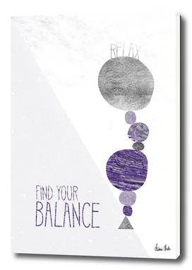 Graphic Art RELAX - FIND YOR BALANCE | ultraviolet