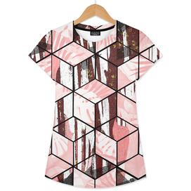 Tropical Pastel Geometric Cubes Design