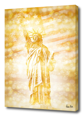 NEW YORK CITY Statue of Liberty with American Banner | gold
