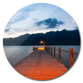 Moon rising at Glenorchy Wharf, New Zealand