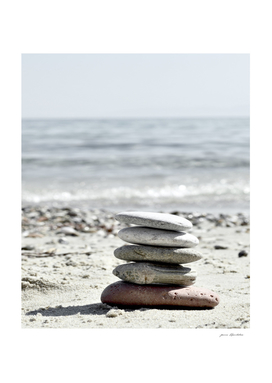 Pebble Balance On The Beach