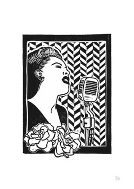 Lady Day (Billie Holiday block print blk)