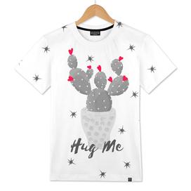Hug Me Cactus in Pot Hearts Design
