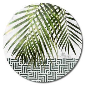 Palm Leaves on White Marble and Tiles