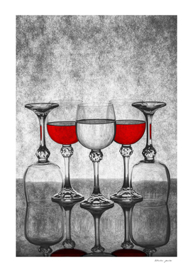 Etude with glasses and wine