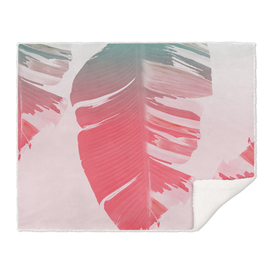 Dreamy Salmon Pink Tropical Banana Leaves