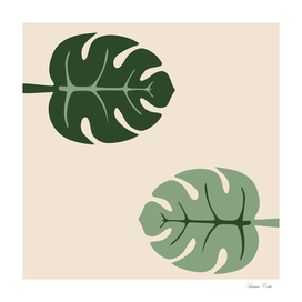 Tropical leaves Monstera deliciosa beige