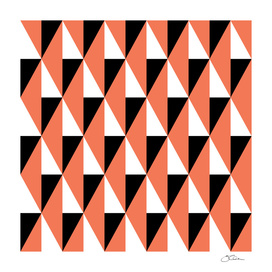 Salmon & black triangle mid-century pattern