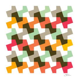 Mint green, orange & red pattern