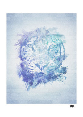 Abstract Watercolor Tiger Portrait / Face