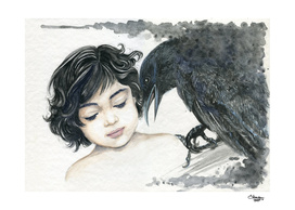 The little girl and the crow