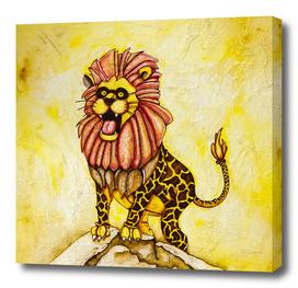A Lion with Giraffe costume