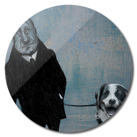 An old gentleman and a dog