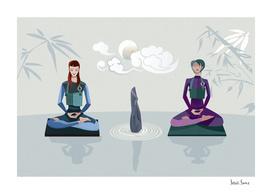 Two Girls Meditating