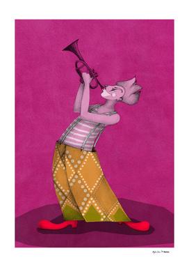 clown trompetist on magenta