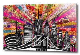 Linocut Blooming New York
