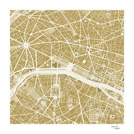 Paris city map gold
