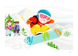 Snowboard Down The Mountain