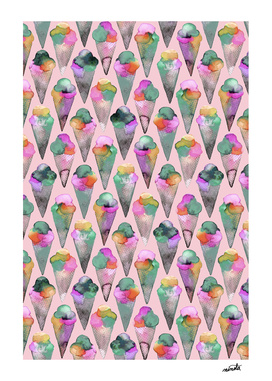 Pink icecream cones pattern