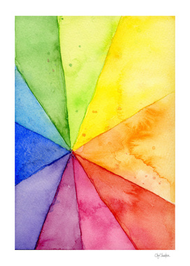 Watercolor Rainbow Beach Ball Pattern