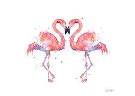 Flamingo Love Watercolor