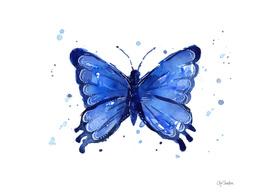 Blue Watercolor Butterfly
