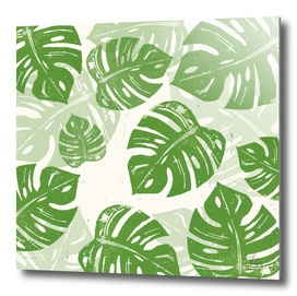 Linocut Monstera Pattern