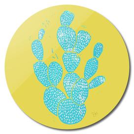 Linocut Cacti Desert Blue