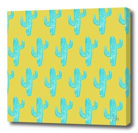 Linocut Cacti Desert Blue Pattern