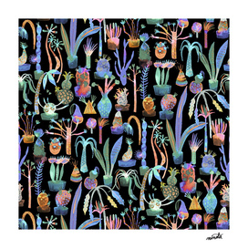 Lush garden pattern - Green and gold