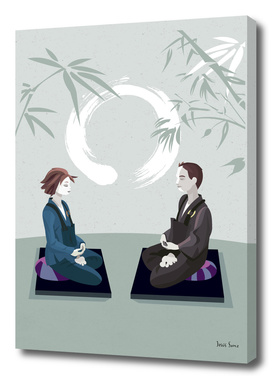 Couple Meditating with Enso