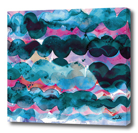 Abstract waves - Pink and blue sea