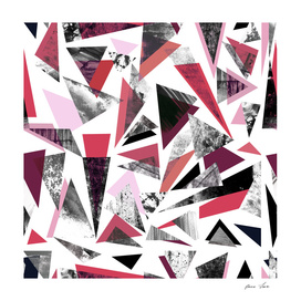 Red Textured triangles on white