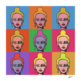Girl with a bun. Pop art  illustration.