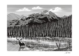 Woodcut Vintage Mountain