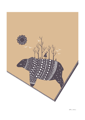 Northern bear on beige color rectangle background