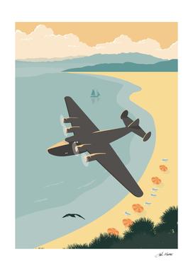 Vintage Plane Over The Beach