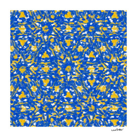 Yellow, white and blue stars in oils 8215