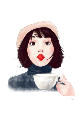 French woman with coffee